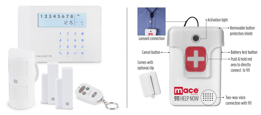 The Mace® Alert Wifi Home Security System and the Mace® Brand 911 Help Now