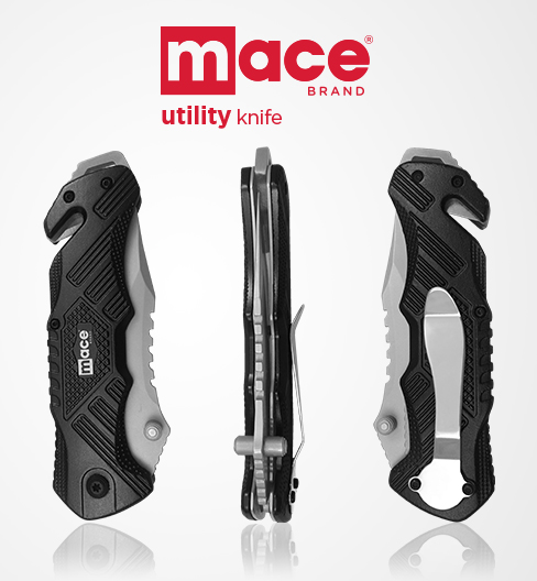 Introducing the new Mace® Brand Utility Knives, 440C stainless steel blade and aircraft grade aluminum handle. Includes seatbelt cutting tool, window break tip and a durable belt/pocket clip.